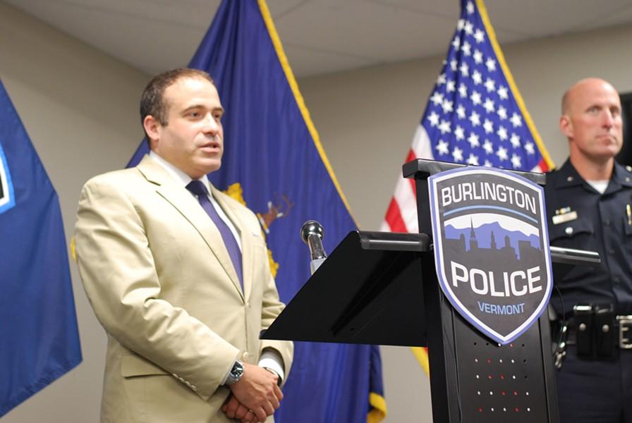 Burlington Police Chief Brandon del Pozo at a press conference Monday - SARA TABIN