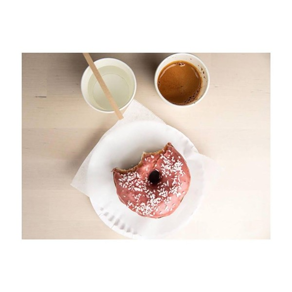 Sourdough doughnut and coffee at Abracadabra Coffee - COURTESY OF ABRACADABRA COFFEE