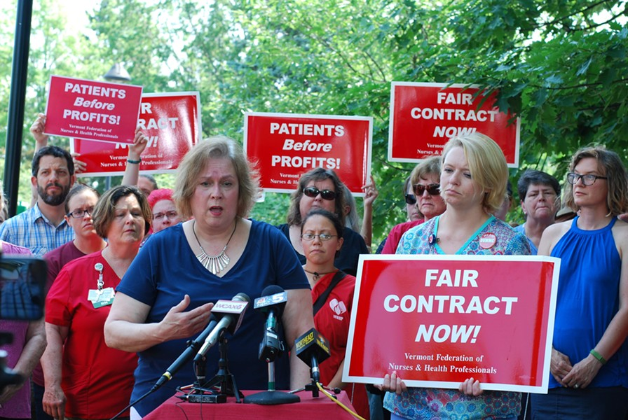 Nurses' union president Laurie Aunchman, right, and negotiator Julie MacMillan speaking to reporters - SARA TABIN