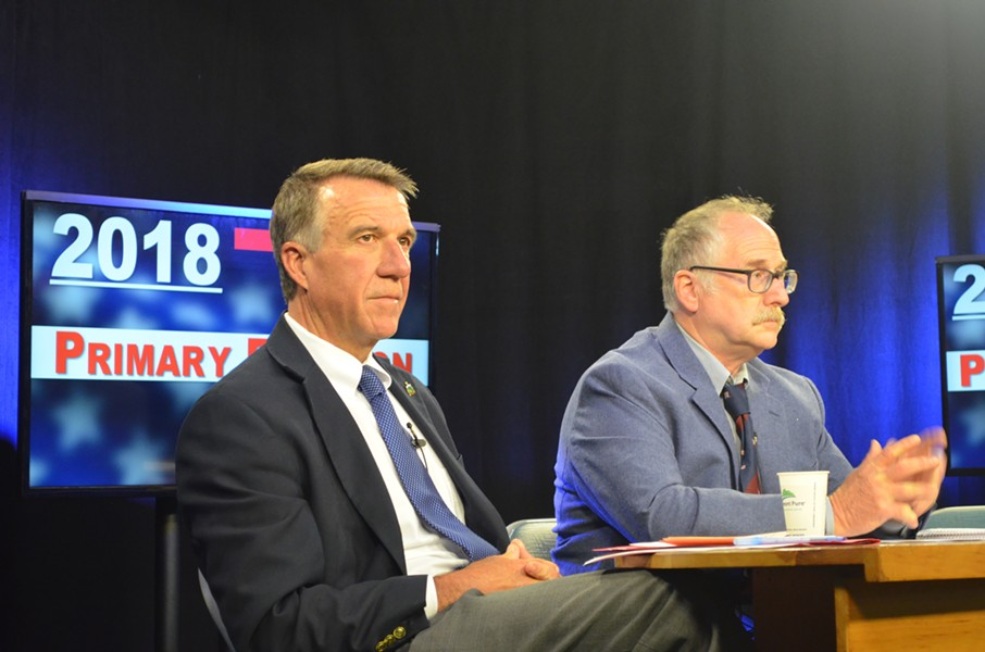Gov. Phil Scott (left) and challenger Keith Stern during the first Republican primary debate of 2018 - ALICIA FREESE