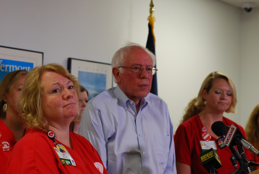 Deb Snell (left) and Julie MacMillan at a press conference with Sen. Bernie Sanders - FILE: SARA TABIN