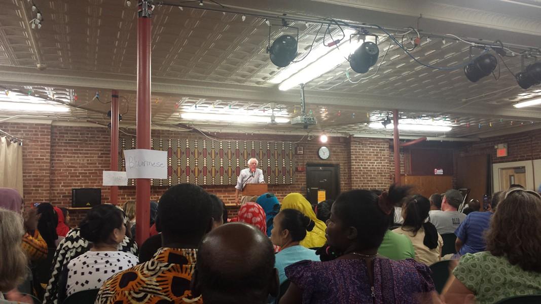 Bernie Sanders addressing the crowd - KYMELYA SARI