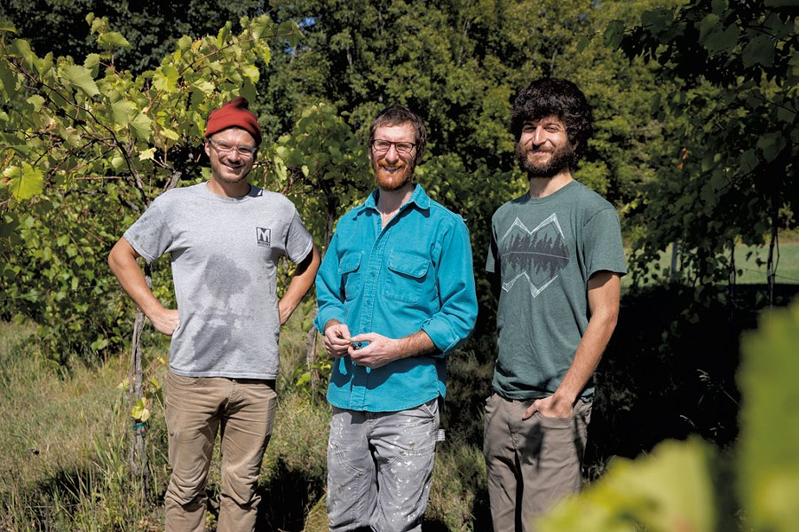 Winemaker Ethan Joseph (center) with assistants CJ Buzzy and Josh Stecker - JAMES BUCK