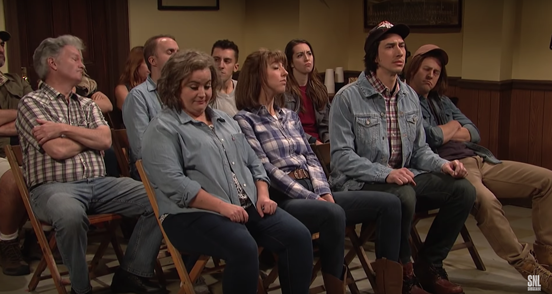 Adam Driver, second from the right - SCREENSHOT: SATURDAY NIGHT LIVE