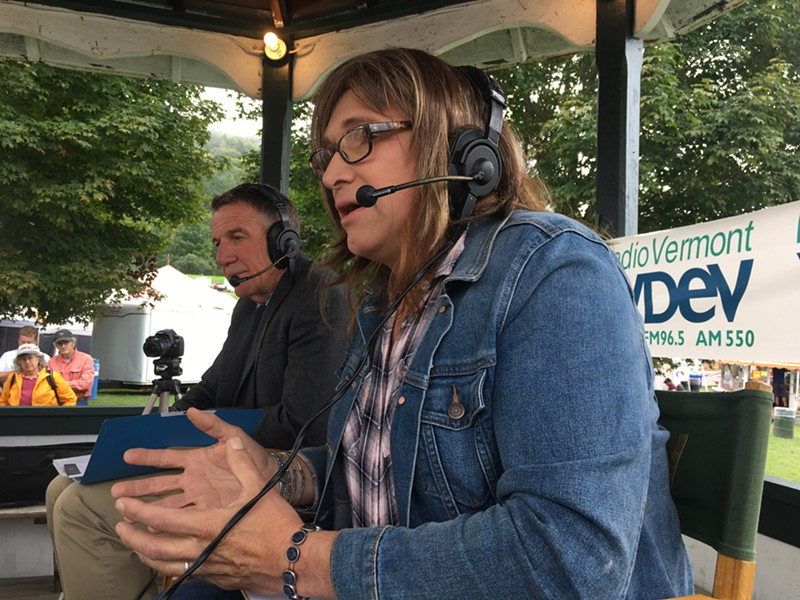 Christine Hallquist making a point while Gov. Phil Scott listens during their debate at the Tunbridge World's Fair - FILE: JOHN WALTERS