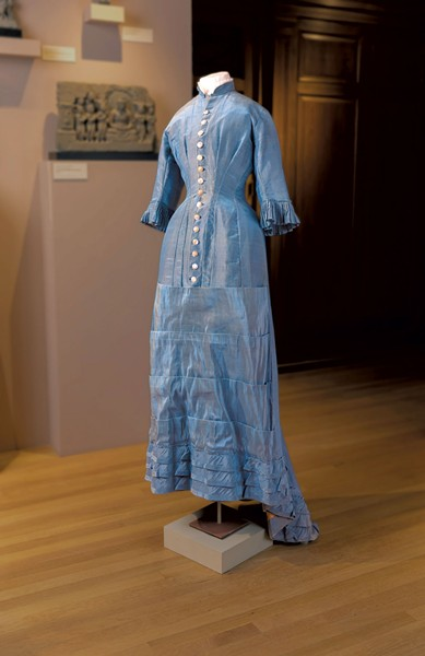 Iridescent blue silk dress with mother-of-pearl buttons from 1878 - COURTESY OF THE FLEMING MUSEUM OF ART