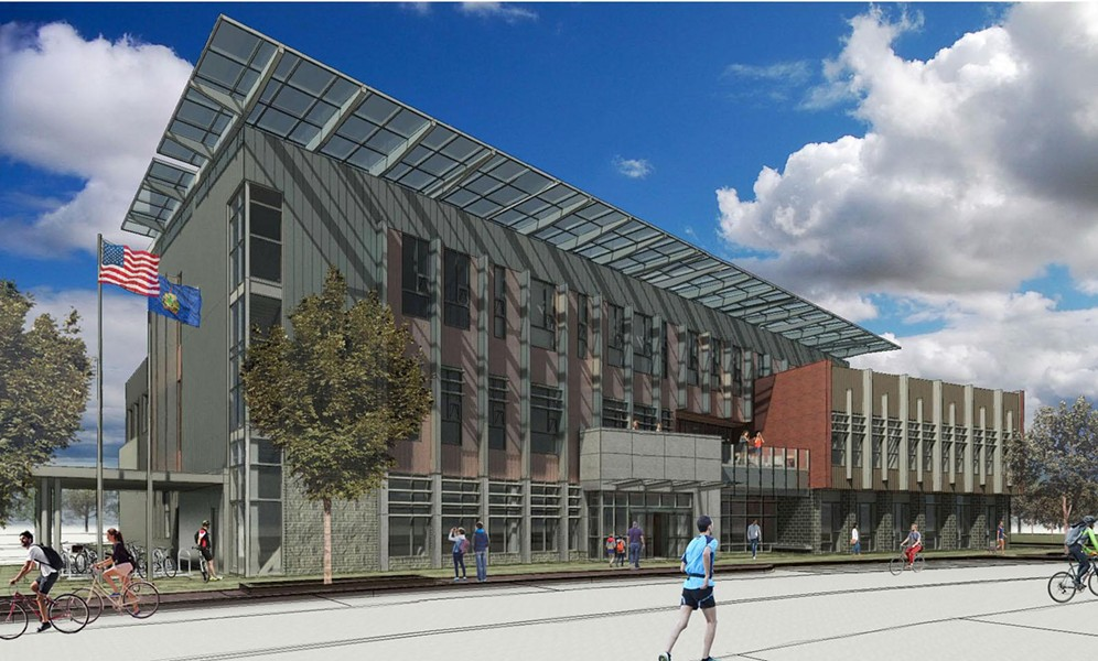 Rendering of proposed South Burlington community building - COURTESY