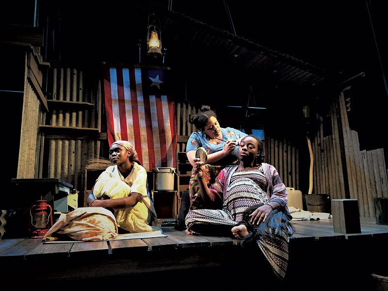 From left: Stella Asa (the Girl), Naomi Agnew (Helena) and Esther Oluokun (Bessie) in 'Eclipsed' - COURTESY OF JAMIE HORTON/DARTMOUTH DEPARTMENT OF THEATER