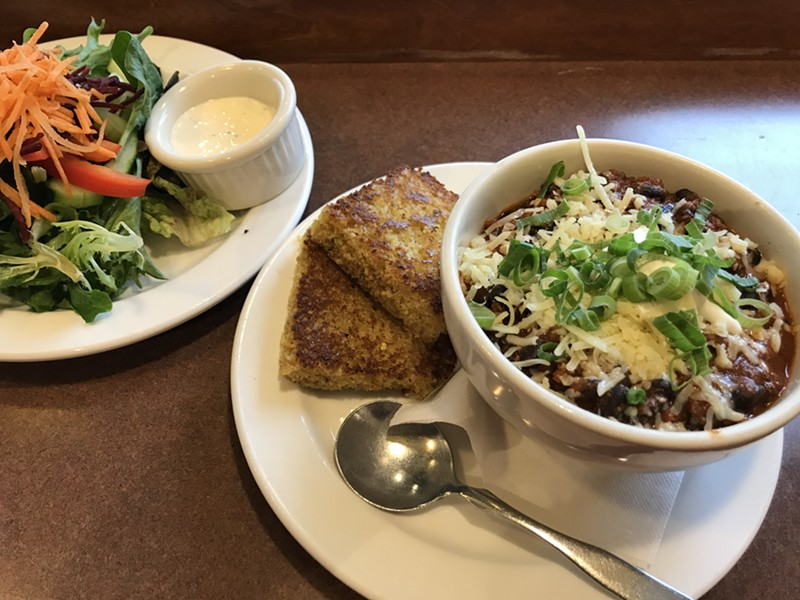Chili and salad - SALLY POLLAK