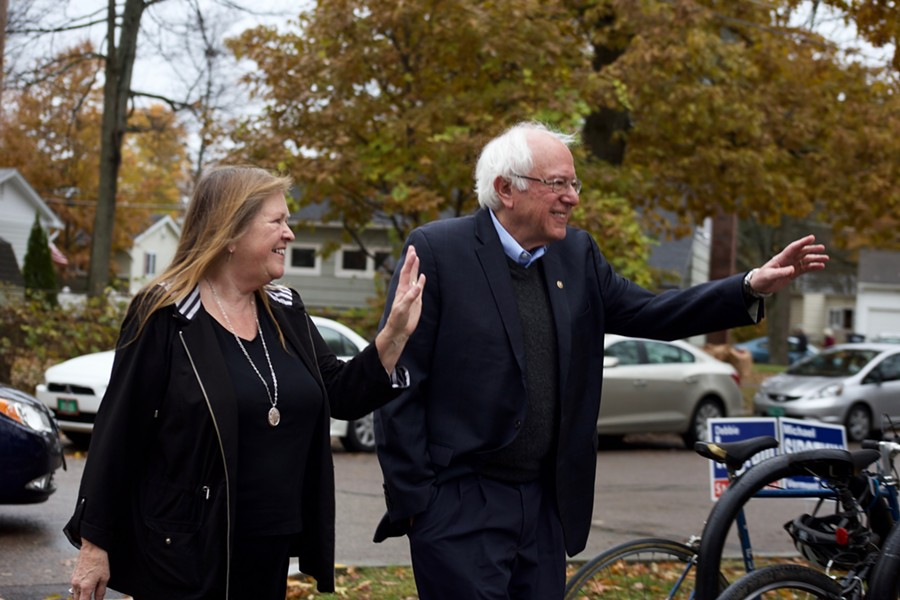 Jane O'Meara Sanders and Sen. Bernie Sanders arrive at the Robert Miller Community & Recreation Center to vote Tuesday morning. - SOPHIE MACMILLAN