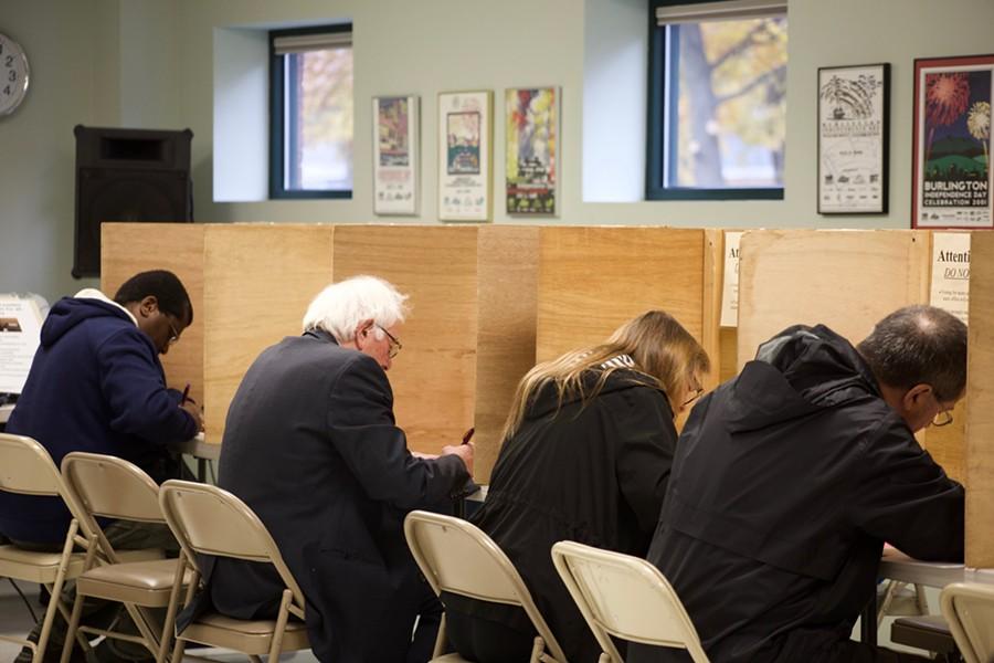Sen. Bernie Sanders votes Tuesday in Burlington - SOPHIE MACMILLAN