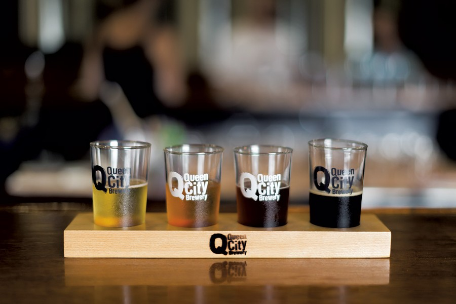 Tasting flight of beers at Queen City Brewery - LUKE AWTRY PHOTOGRAPY