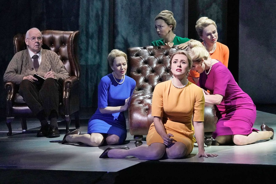 Isabel Leonard as Marnie (in yellow) with other cast members of 'Marnie' - KEN HOWARD/THE MET