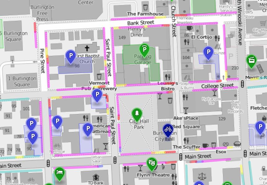Burlington's interactive parking map - SCREENSHOT
