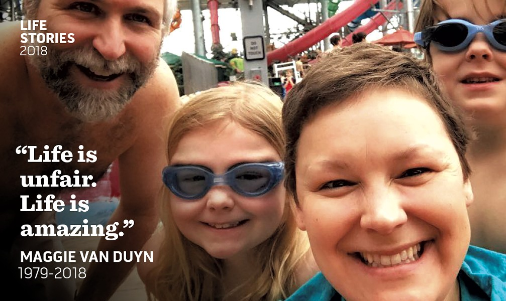 Maggie Van Duyn with husband Jim and kids Zoey and Emmet