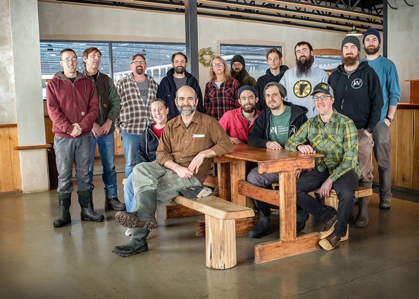 The team at Hill Farmstead, founder Shaun Hill standing fourth from left - HILL FARMSTEAD BREWERY