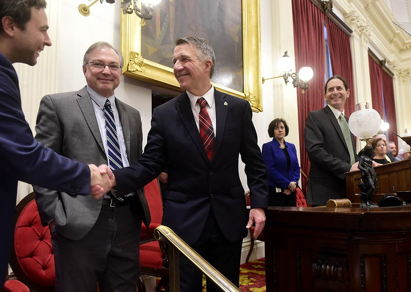 Sen. Tim Ashe, left, shakes Gov. Phil Scott's hand at the governor's budget address on January 24, 2019. - JEB WALLACE-BRODEUR