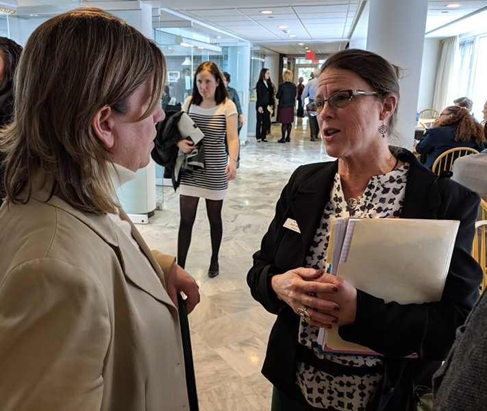 Rep. Heidi Scheuermann (R-Stowe), left, with Rep. Kate Webb (D-Shelburne) on Tuesday at the Statehouse. - TAYLOR DOBBS