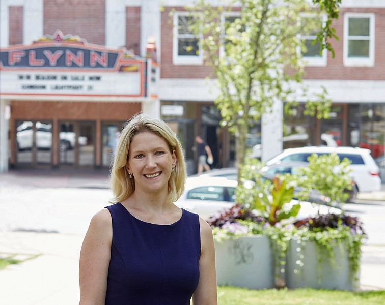 Anna Marie Gewirtz in front of the Flynn marquee - COURTESY OF FRÉDÉRIC SILBERMAN PHOTOGRAPHY