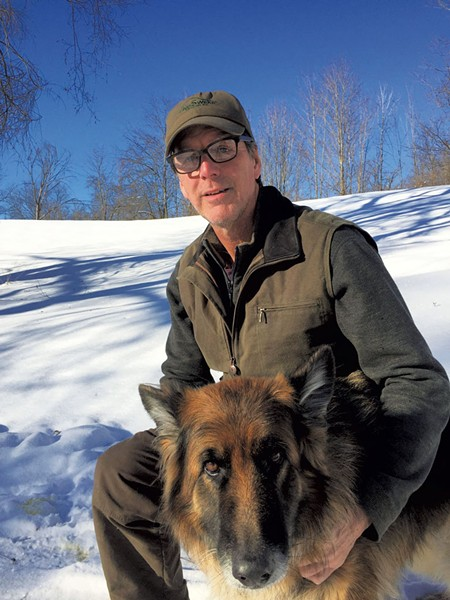 Pete Kelley wearing a NoSwear hat and his dog, Byrdy - COURTESY OF PETE KELLEY