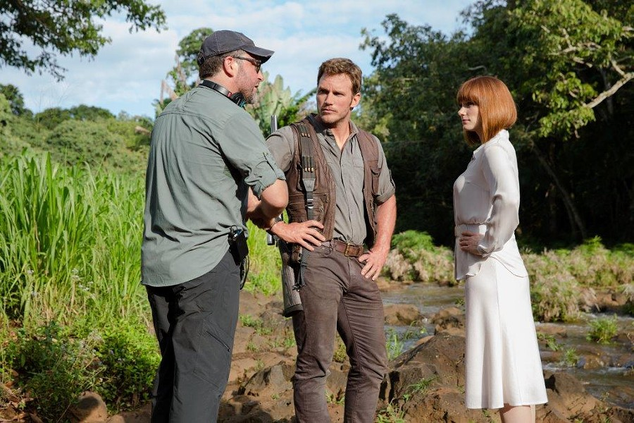 Colin Trevorrow, Chris Pratt and Bryce Dallas Howard on the set of Jurassic World - COURTESY OF NBCUNIVERSAL