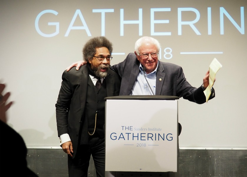 Dr. Cornel West and Sen. Bernie Sanders (I-Vt.) at the Sanders Institute Gathering in November 2018. - FILE: TAYLOR DOBBS