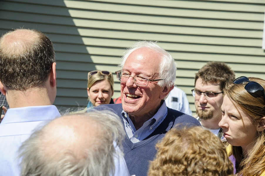 Sen. Bernie Sanders at a New Hampshire house party in April. - FILE: ALAN MACRAE