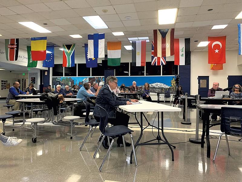 Jane Knodell speaking at the April 2 Burlington school board meeting - DEREK BROUWER