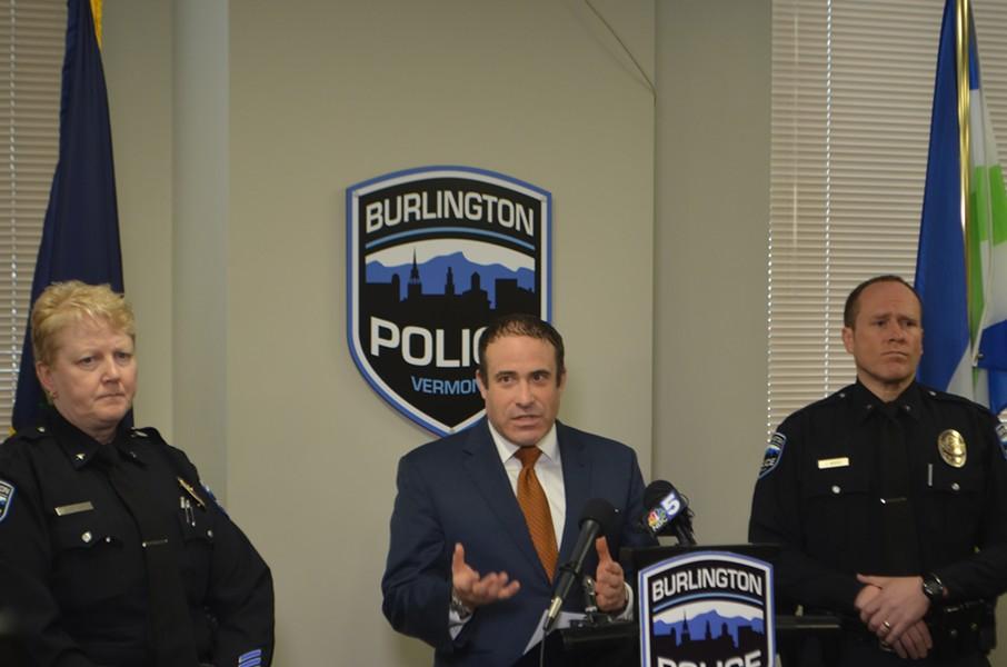 Burlington Police Chief Brandon del Pozo (center) - DEREK BROUWER