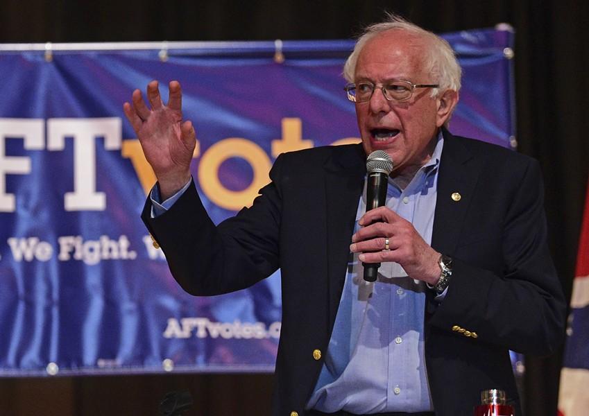 Sen. Bernie Sanders speaking at Lordstown High School on Sunday in Warren, Ohio - AP PHOTO/DAVID DERMER
