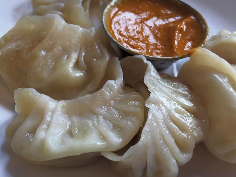 Veggie momos with chile sauce - HANNAH PALMER EGAN