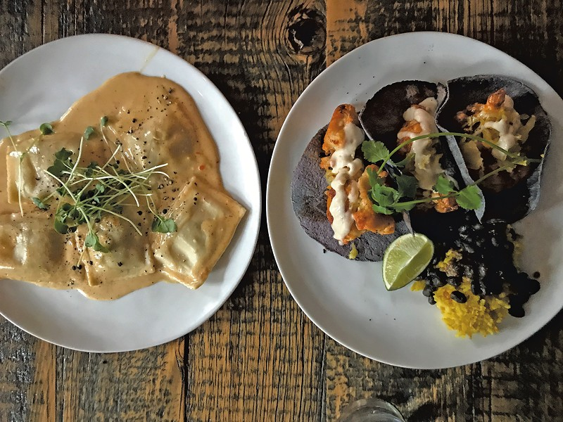 Ravioli and cauliflower tacos at Revolution Kitchen - SALLY POLLAK