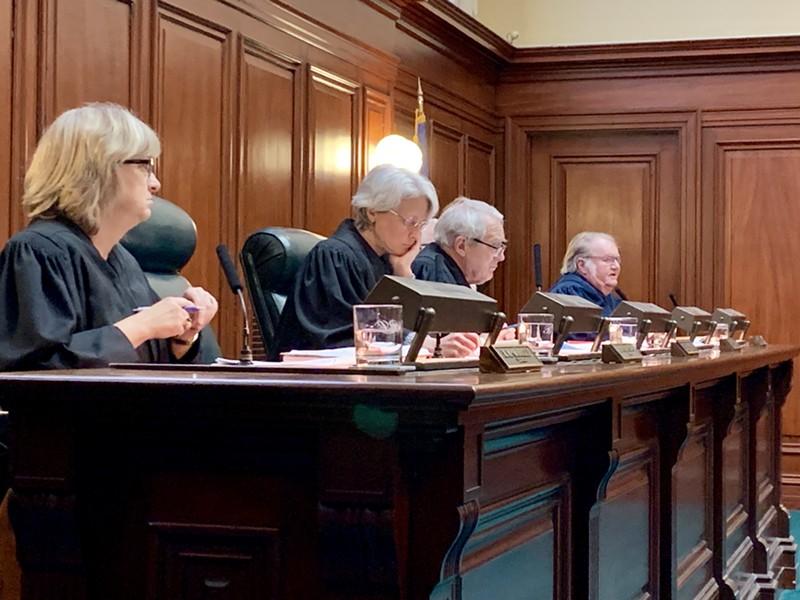 Vermont Supreme Court justices during oral arguments Wednesday - DEREK BROUWER
