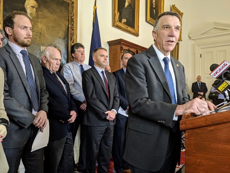 Gov. Phil Scott with (from left) Agency of Natural Resources Deputy Secretary Peter Walke and Bennington County Sens. Dick Sears and Brian Campion - FILE: TAYLOR DOBBS