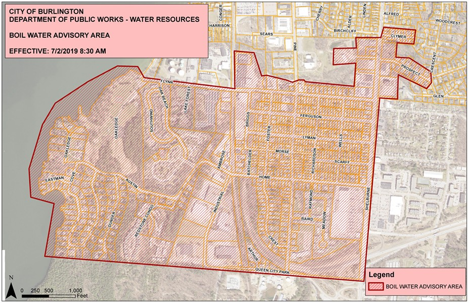 Areas affected by boil water notice - CITY OF BURLINGTON