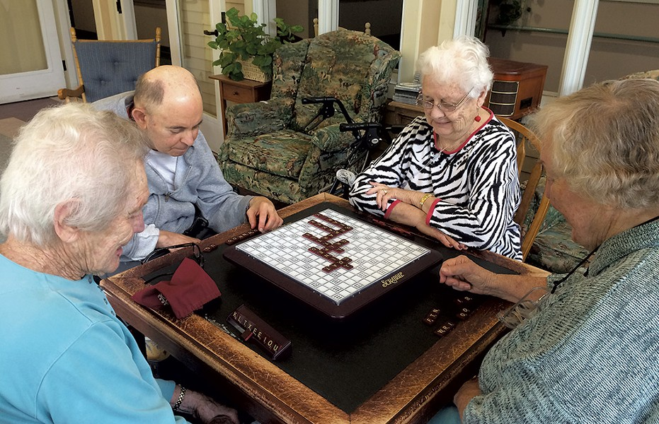 Craftsbury Community Care Center residents playing Scrabble - COURTESY OF KIMBERLY ROBERGE