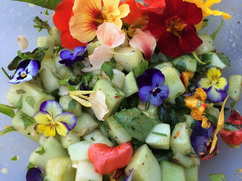 Cucumber-flower salad - HANNAH PALMER EGAN