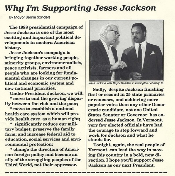 A 1988 flyer explaining Burlington Mayor Bernie Sanders' support for Democratic presidential candidate Jesse Jackson - BERNARD SANDERS PAPERS, SPECIAL COLLECTIONS, UNIVERSITY OF VERMONT LIBRARY