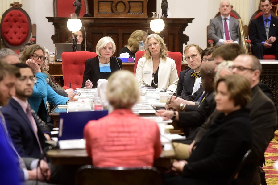 Lawmakers listening to testimony in February about legislation guaranteeing a woman's right to an abortion - FILE: JEB WALLACE-BRODEUR