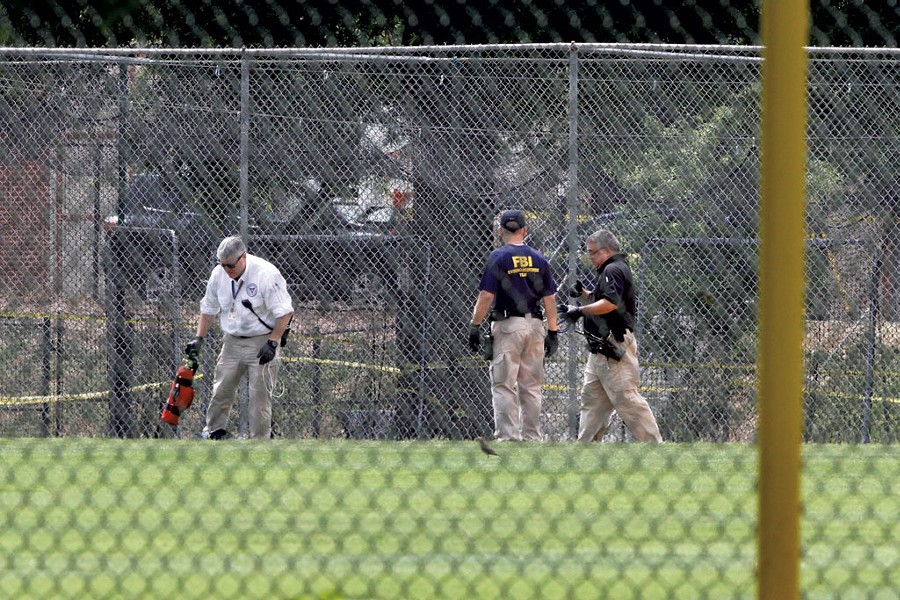 The Alexandria, Va., baseball field where Rep. Steve Scalise (R-La.) and three others were wounded with a Century International Arms rifle in June 2017 - AP PHOTO / JACQUELYN MARTIN