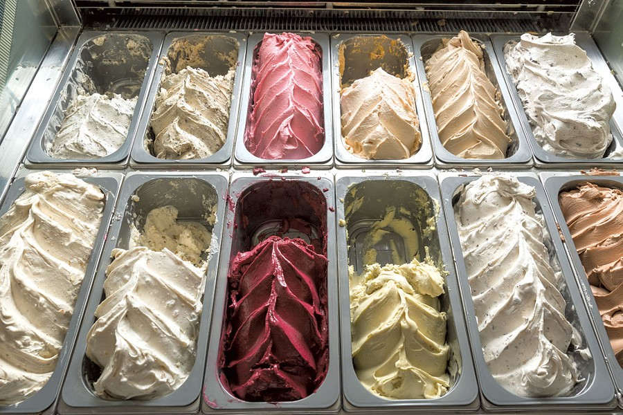 The gelato case at La Villa Bistro - OLIVER PARINI