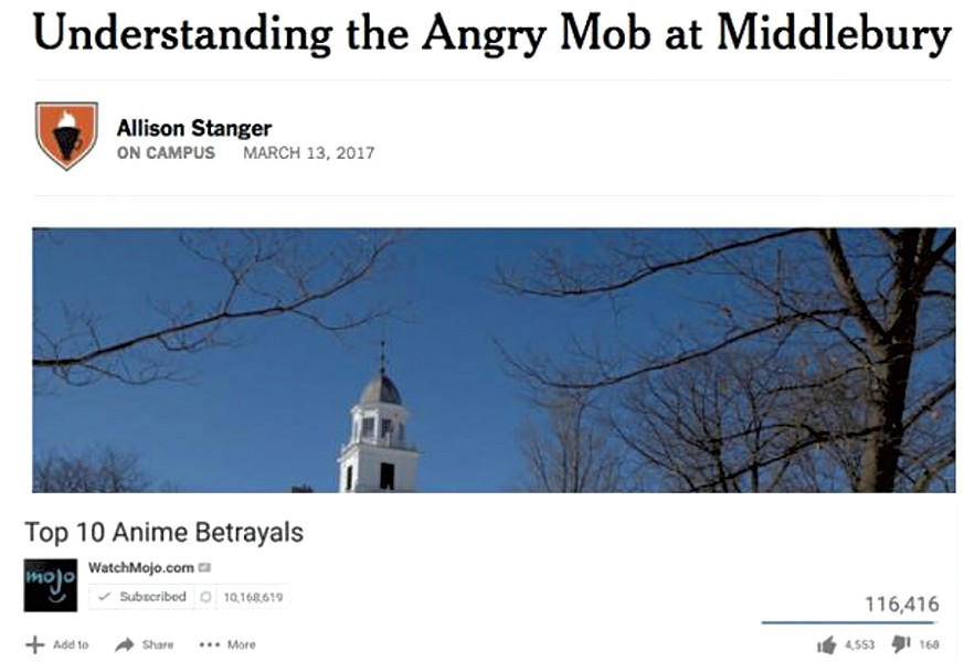 Katie Corrigan's first meme in the Middlebury Memes for Crunchy Teens group, equating professor Allison Stanger's New York Times op-ed to an anime betrayal