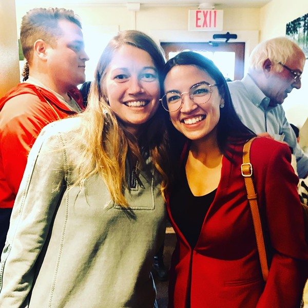 Molly Gray and U.S. Rep. Alexandria Ocasio-Cortez on Saturday morning at Penny Cluse Café in Burlington - COURTESY OF MOLLY GRAY
