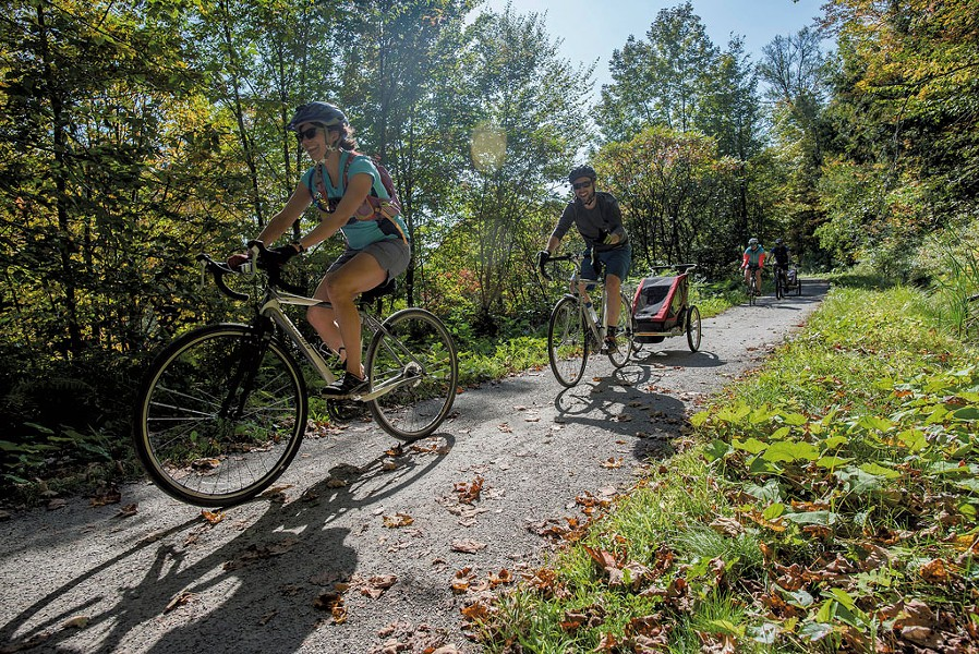 Bikers on the Lamoille Valley Rail Trail - GLENN RUSSELL