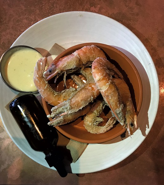 Crispy fried shrimp with horseradish aioli and hot pepper honey vinegar at Juniper - SALLY POLLAK