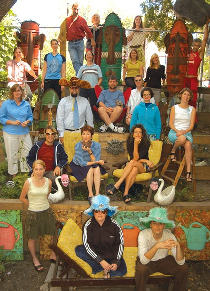 TOP ROW: Ken Picard, Allison Davis, Sarah Potter. - SECOND ROW: Michael Bradshaw, Margot Harrison with Peter Freyne T-shirt, Cathy Resmer, Katherine Reilly, Molly McGill, Matthew Thorsen. - THIRD ROW: Robyn Birgisson, Colby Roberts, Rick Woods, Jonathan Bruce, Meghan Dewald, Michelle Brown. - FOURTH ROW: Don Eggert, Pamela Polston, Paula Routly. - BOTTOM ROW: Lindzey Draper, Diane Sullivan, Casey Rea. - SWAN HEADS: Jo Scott, Ruth Horowitz. - NOT PICTURED: Joanna May, Nicki Manchisi. - PHOTO: Matthew Thorsen.