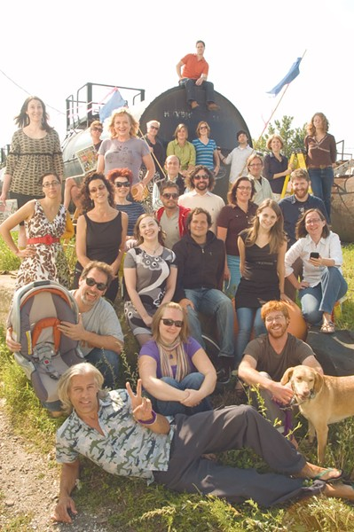 PICTURED ABOVE, IN ROWS, SORTA, FROM TOP OF THE TRAIN: Andrew Sawtell, Margot Harrison, Krystal Woodward, Elizabeth Crean, Diane Sullivan, Robyn Birgisson, Lauren Ober, Ryan Hayes, Michelle Brown, Cheryl Brownell, Eva Sollberger, Paula Routly, Pamela Polston, Don Eggert, Jordan Silverman, Colby Roberts, Judy Beaulac, Shay Totten, Andy Bromage, Alice Levitt, Steve Hadeka, Carolyn Fox, Cathy Resmer, Ken Picard, Ashley Brunelle, Dan Bolles, Dog, Matthew Thorsen. - MISSING: Allison Davis. - PHOTO: Matthew Thorsen.