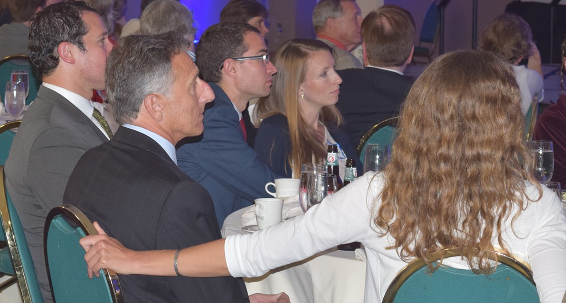 Gov. Peter Shumlin with girlfriend Katie Hunt at the Democratic Party Curtis Award dinner in June. - TERRI HALLENBECK