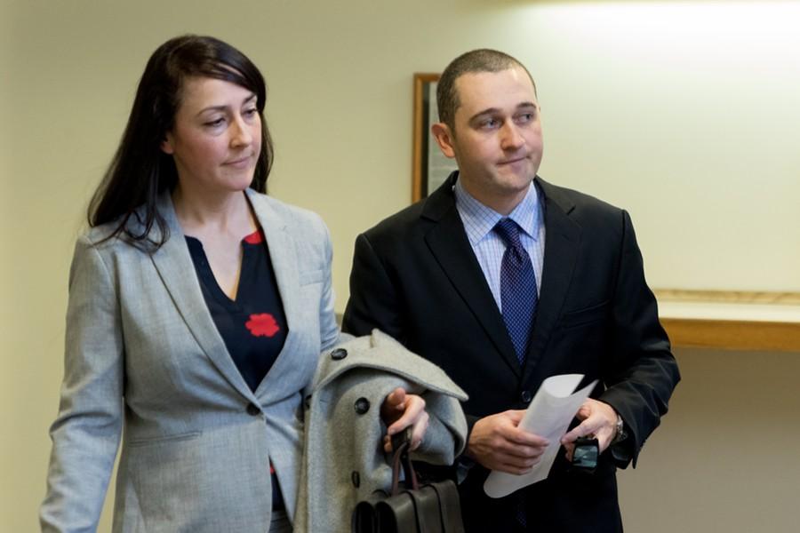 Jason Lawton, right, with his attorney, Rebecca Otey - COLIN FLANDERS