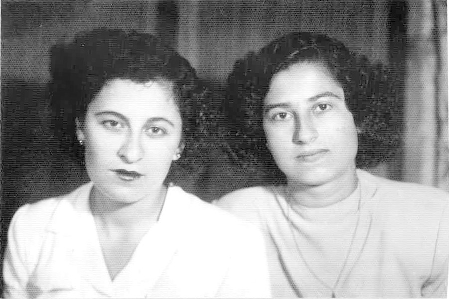 Mountaha (right) with her childhood friend Nadia Abdullah